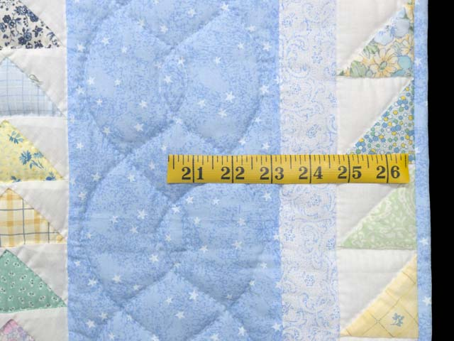 Pastel Blue and Multicolor  Flying Geese Crib Quilt Photo 6