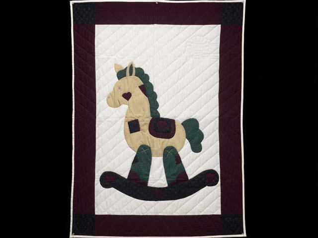Burgundy  Rocking Horse Crib Quilt Photo 1