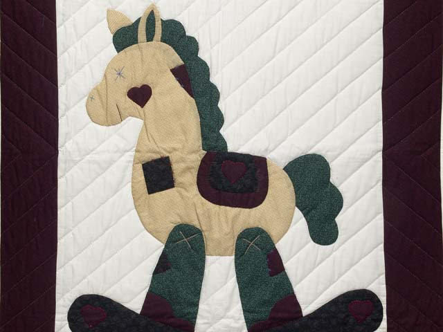 Burgundy  Rocking Horse Crib Quilt Photo 2
