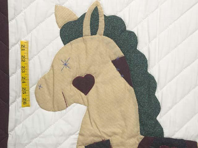 Burgundy  Rocking Horse Crib Quilt Photo 3