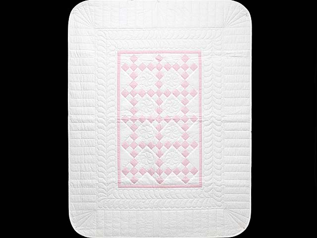 Pink and Cream Nine Patch Crib Quilt Photo 1
