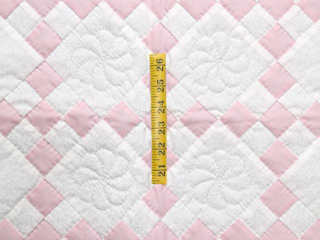 Pink and Cream Nine Patch Crib Quilt Photo 3