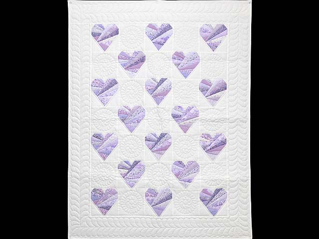 Lavender and Cream Patchwork Hearts Quilt Photo 1