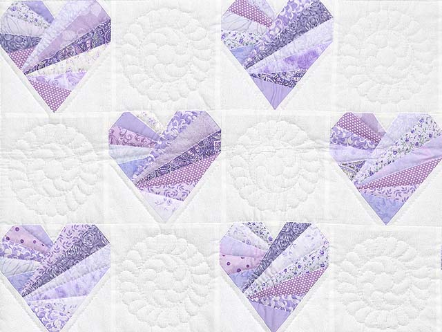 Lavender and Cream Patchwork Hearts Quilt Photo 2