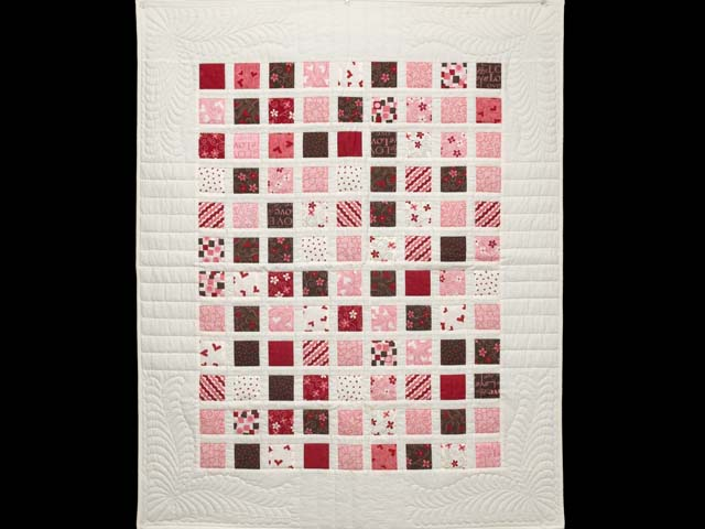 Pink and Chocolate Delight Crib Quilt Photo 1