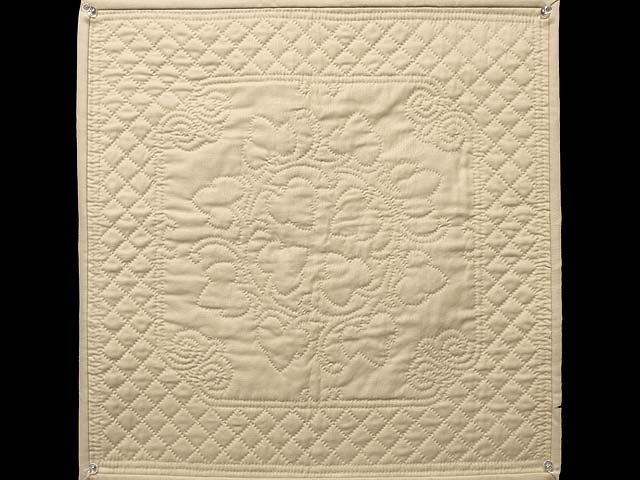 Tan All Quilted Grape Leaves Mini Quilt Photo 1