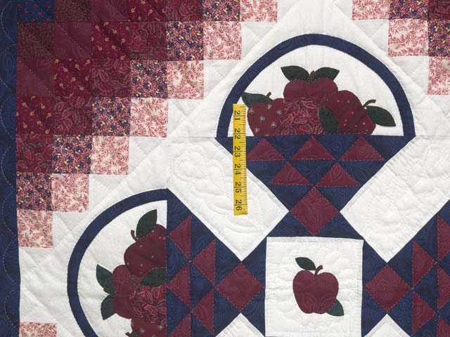 Burgundy and Blue Apple Basket Wall Hanging Photo 3