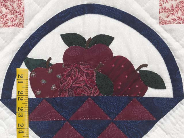Burgundy and Blue Apple Basket Wall Hanging Photo 5