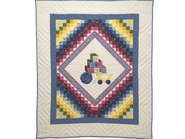 Blue and Pastel ABC Crib Quilt Photo 1