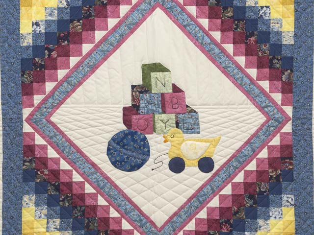 Blue and Pastel ABC Crib Quilt Photo 2