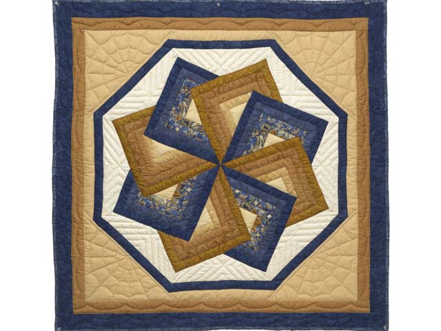 Navy and Gold Star Spin Wall Hanging Photo 1