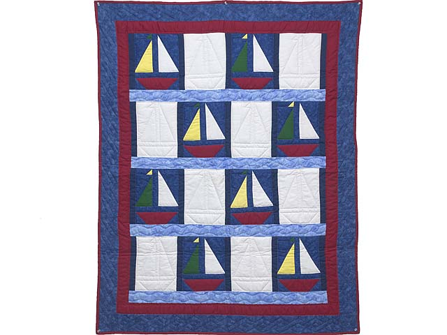 Primary Colors Sailboats Crib Quilt Photo 1