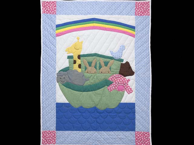 Pastel Blue and Rosy Red Noahs Ark Crib Quilt Photo 1