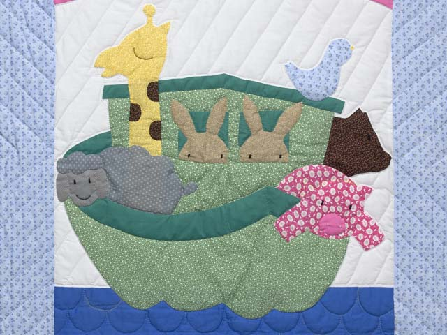 Pastel Blue and Rosy Red Noahs Ark Crib Quilt Photo 2