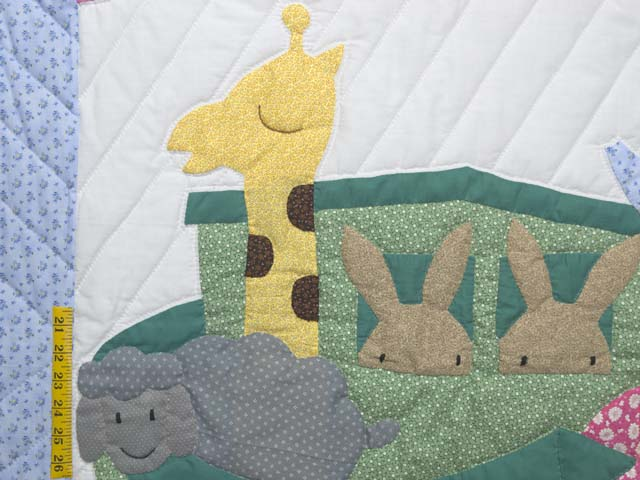 Pastel Blue and Rosy Red Noahs Ark Crib Quilt Photo 3