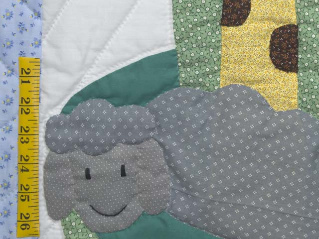 Pastel Blue and Rosy Red Noahs Ark Crib Quilt Photo 4