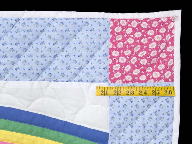 Pastel Blue and Rosy Red Noahs Ark Crib Quilt Photo 5