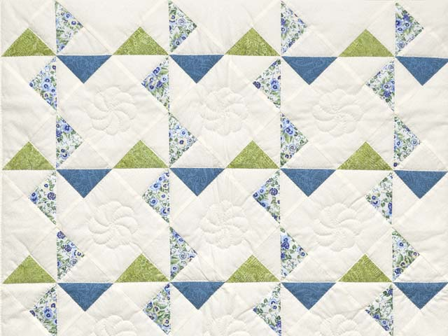 Blue Green and Cream Pinwheel Crib Quilt Photo 2