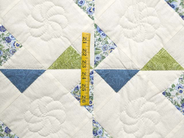Blue Green and Cream Pinwheel Crib Quilt Photo 3