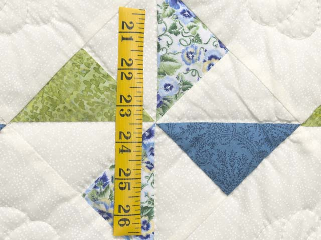 Blue Green and Cream Pinwheel Crib Quilt Photo 4