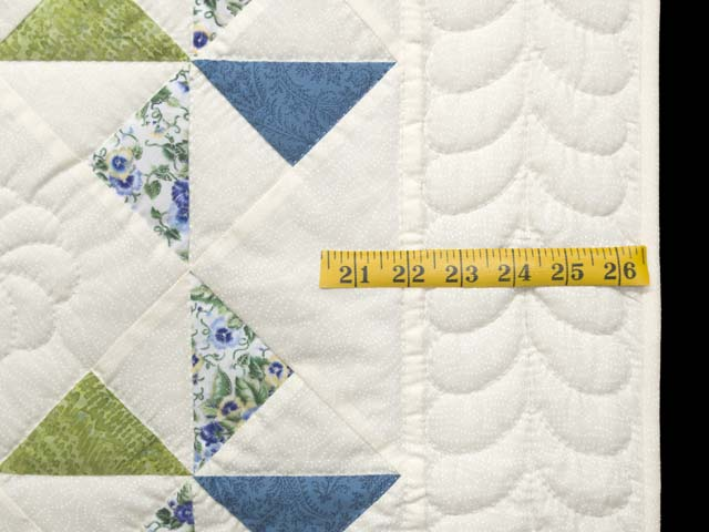 Blue Green and Cream Pinwheel Crib Quilt Photo 5
