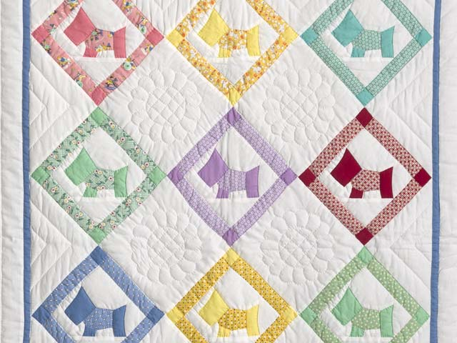 Blue and Pastels Scotties Crib Quilt Photo 2