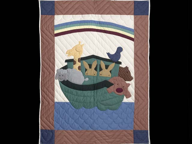 Plaid Noahs Ark Crib Quilt Photo 1