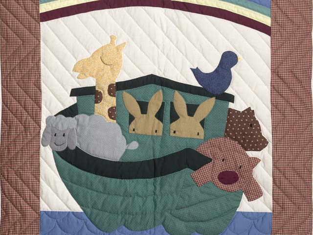 Plaid Noahs Ark Crib Quilt Photo 2