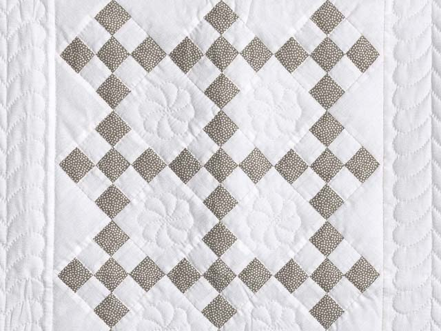 Cool Brown and White Nine Patch Crib Quilt Photo 2