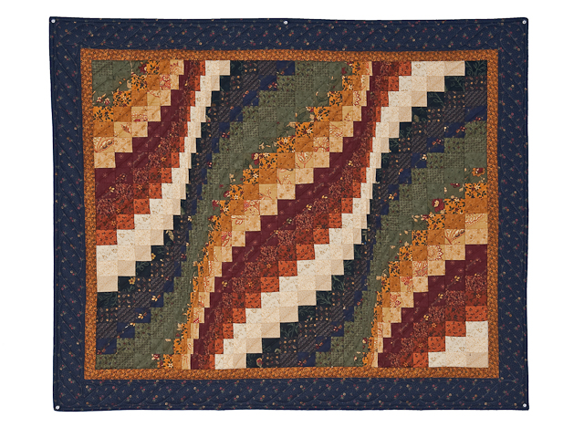 Navy, cheddar, burgundy, green  Bargello Wave Wall Hanging Photo 1