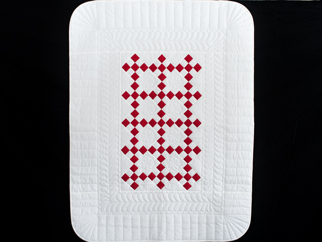 Brilliant Red and White Nine Patch Crib Quilt Photo 1