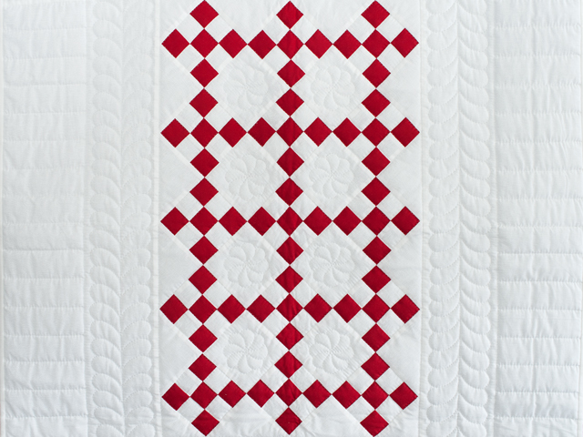 Brilliant Red and White Nine Patch Crib Quilt Photo 2