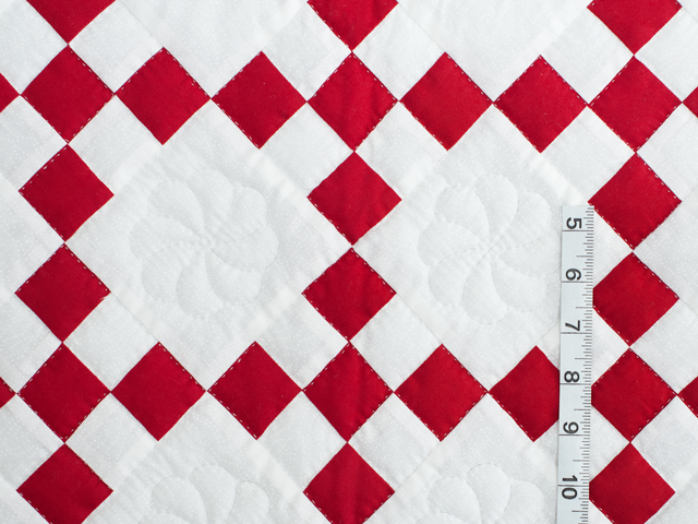 Brilliant Red and White Nine Patch Crib Quilt Photo 3