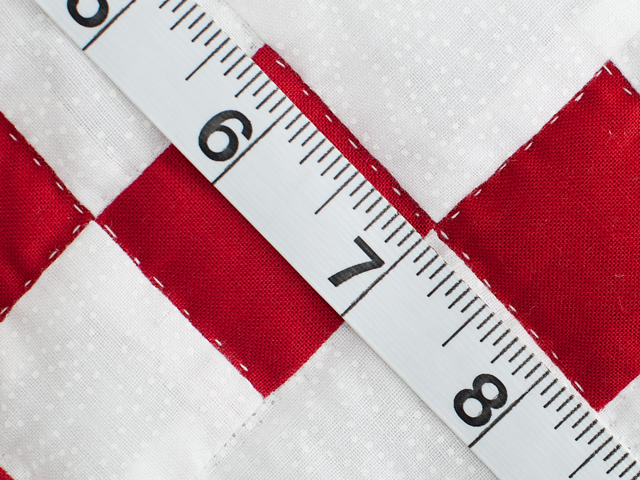 Brilliant Red and White Nine Patch Crib Quilt Photo 6