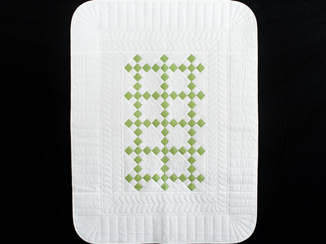 Spring Green and White Nine Patch Crib Quilt Photo 1