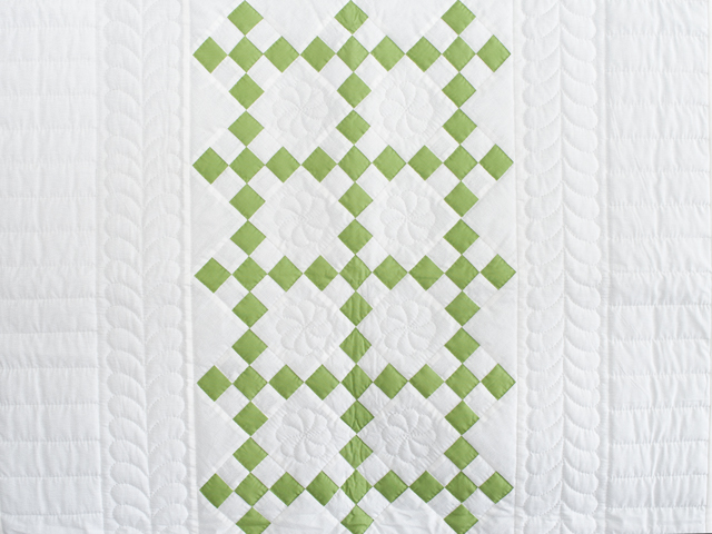 Spring Green and White Nine Patch Crib Quilt Photo 2