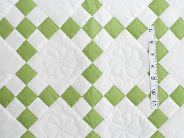 Spring Green and White Nine Patch Crib Quilt Photo 3