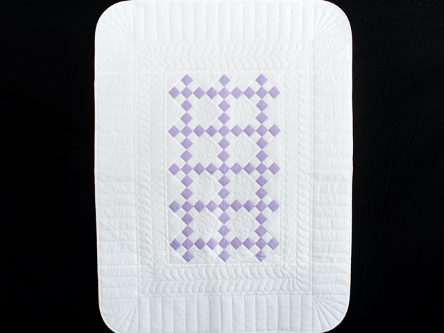 Soft Lavender and White Nine Patch Crib Quilt Photo 1