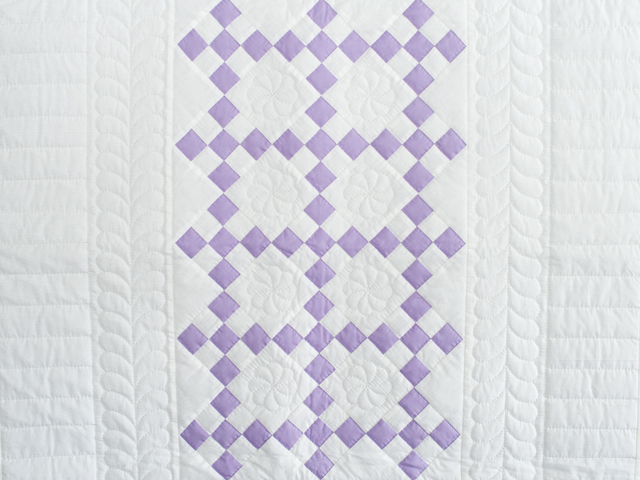 Soft Lavender and White Nine Patch Crib Quilt Photo 2