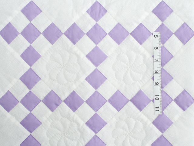 Soft Lavender and White Nine Patch Crib Quilt Photo 3