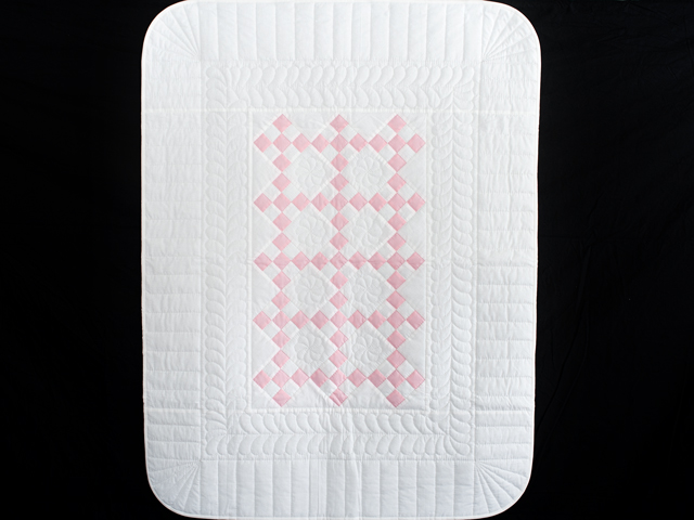 Soft Pink and White Nine Patch Crib Quilt Photo 1