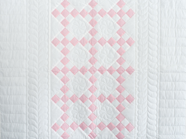 Soft Pink and White Nine Patch Crib Quilt Photo 2