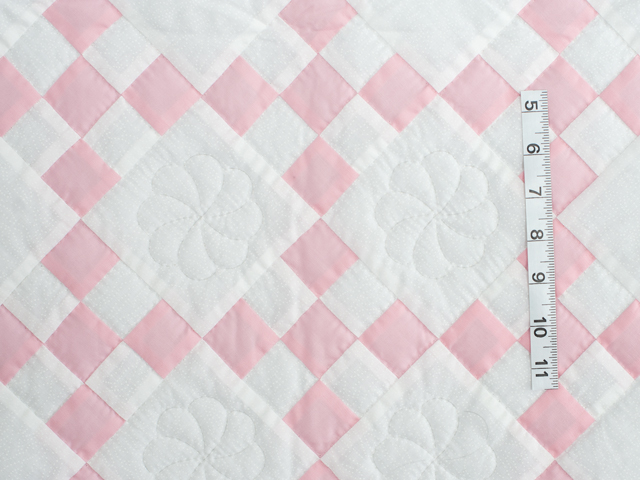 Soft Pink and White Nine Patch Crib Quilt Photo 3