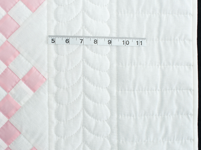 Soft Pink and White Nine Patch Crib Quilt Photo 5