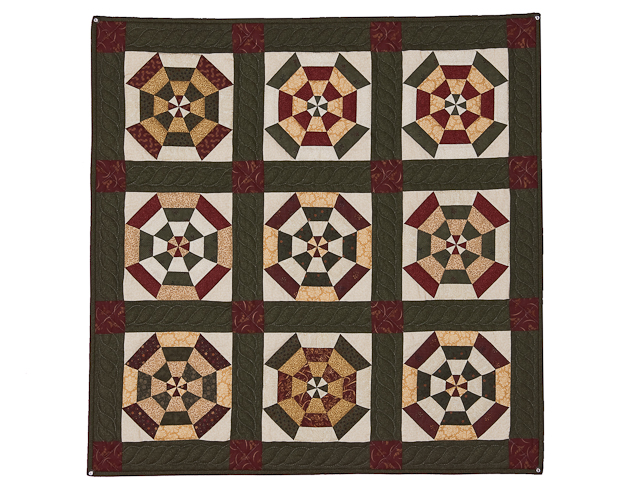 Green, Burgundy and Tan Serendipity Wall Hanging Photo 1