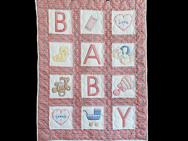 Pink Cross Stitch ABC Bears Crib Quilt Photo 1