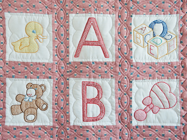 Pink Cross Stitch ABC Bears Crib Quilt Photo 2