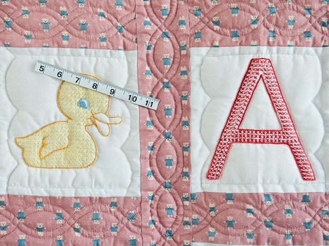 Pink Cross Stitch ABC Bears Crib Quilt Photo 3