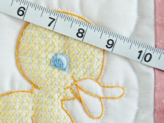 Pink Cross Stitch ABC Bears Crib Quilt Photo 4