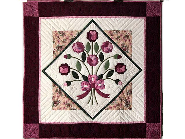 Raspberry and Green Victorian Rose Wall Hanging Photo 1